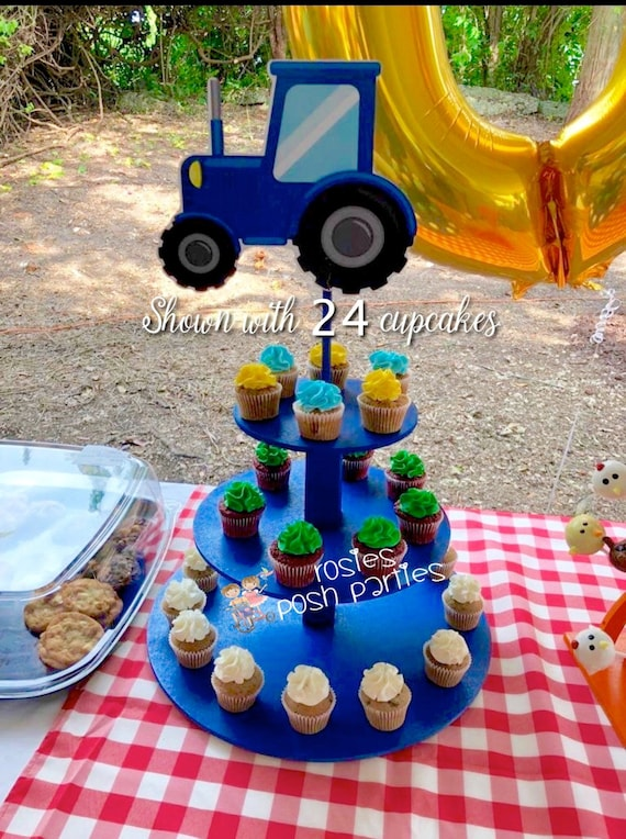 Prime Farm Tractor Cupcake Stand Farm Barn House Birthday Cake Wood Funny Birthday Cards Online Unhofree Goldxyz