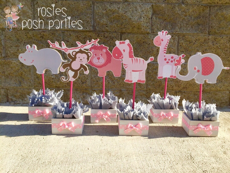 Jungle Safari Centerpiece Decorations For Baby Shower Pink Etsy