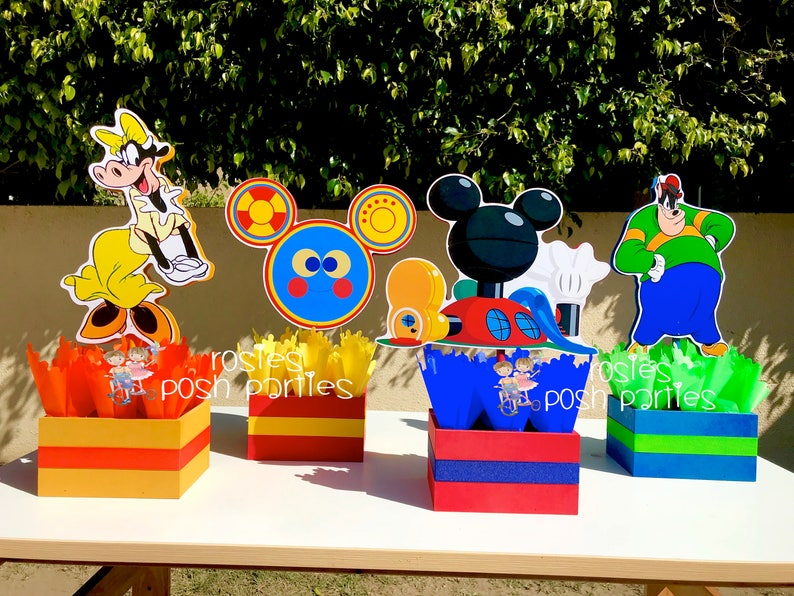 Mickey Mouse Clubhouse Toodles Pete Clarabelle birthday party wood guest table centerpiece decoration Pluto Minnie Mickey Donald SET OF 4