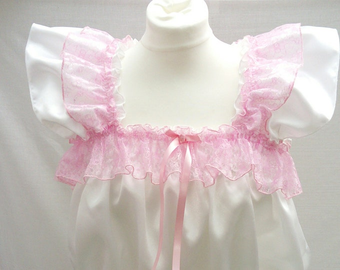 All Sizes 65GBP Adult Baby Floral Pink Sissy Short Dress Nappy Cover set abdl
