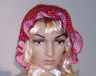 f78bde4e186 Adult Baby Bonnet only 8 GBP Sissy Boi in red with white spots dress up  fancy dress