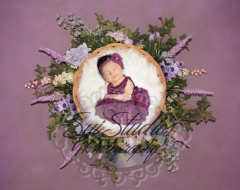 Newborn digital photography backdrop Purple with flowers easy to use. Beautiful baby girl backdrop floral design