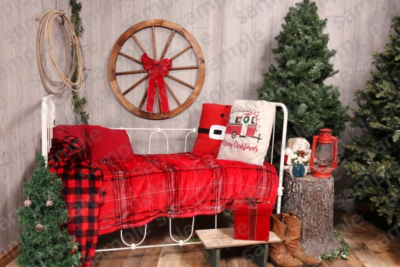 Beautiful Vintage Bed Digital Christmas Backdrop Diy Christmas Pictures Photography Studio Photo Shop Layers Green Screen Background Decor