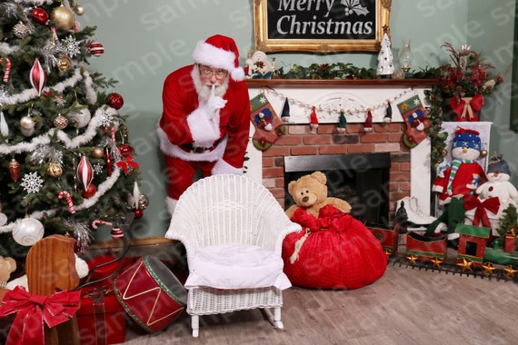 Digital Backdrop Of Santa Standing Behind A Childs Chair Diy Santa Pictures Photography Studio Diy Christmas Backdrop Photo Shop Layers