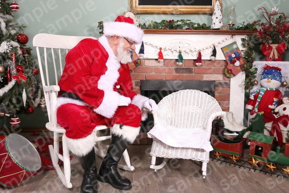 Digital Backdrop Of Santa Sitting Beside A Child S Chair Diy Santa Pictures Photography Studio Diy Christmas Backdrop Photo Shop Layers