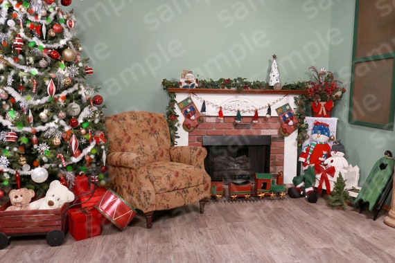 Beautiful Fireplace Digital Christmas Backdrop Diy Christmas Pictures Photography Studio Photo Shop Layers Green Screen Background