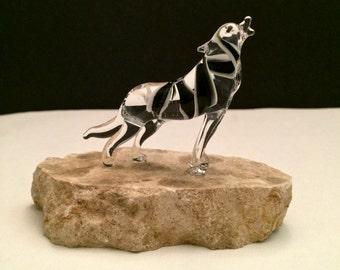 Howling Wolf Handblown Glass Sculpture