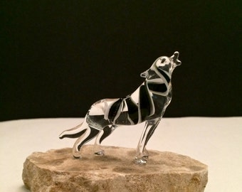 Russian blown art miniature realistic animal figurine Glass wolf statue