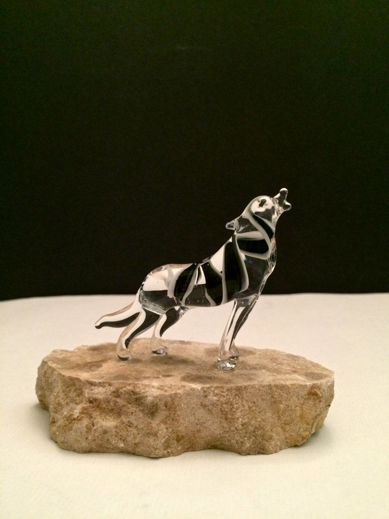 Handblown Glass Lone Wolf Sculpture Small image 0