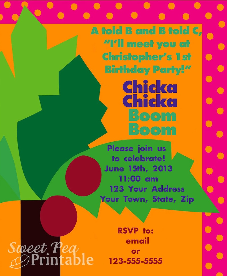 photograph regarding Chicka Chicka Boom Boom Printable known as Tailored Printable Chicka Chicka Growth Increase Invitation for Birthday/Boy or girl Shower