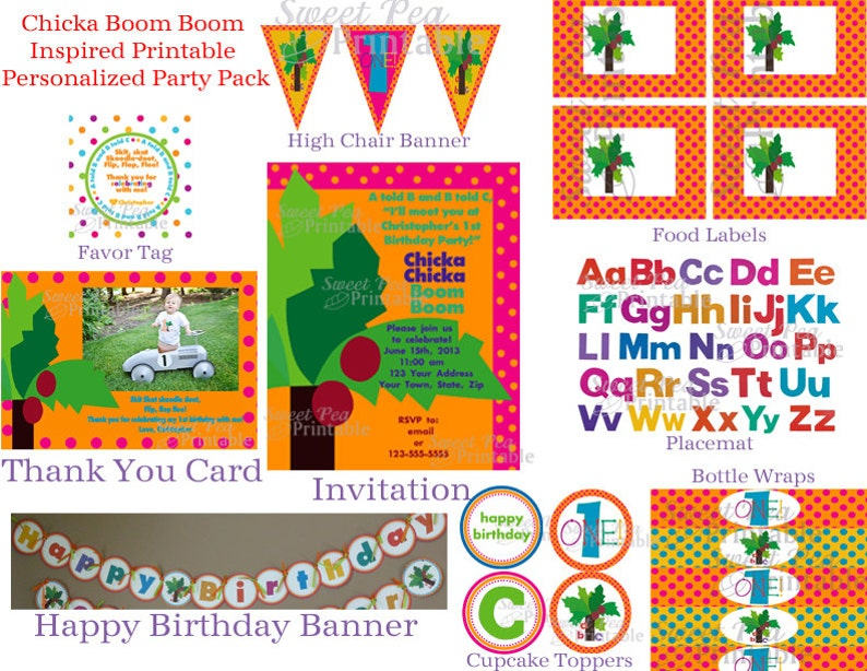 picture relating to Chicka Chicka Boom Boom Printable Book titled Custom made Printable Chicka Chicka Increase Increase Impressed - Bash Package deal- Birthday-Kid Shower