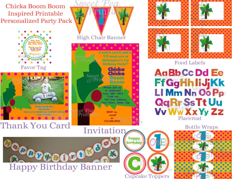 image relating to Chicka Chicka Boom Boom Printable called Custom-made Printable Chicka Chicka Increase Growth Encouraged - Celebration Bundle- Birthday-Youngster Shower