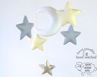Baby Mobile, White Yellow Grey Gold Baby Mobile, Baby Crib Mobile, Stars Baby Mobile,  Nursery Decor, Gift Packaging