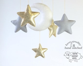 Baby Mobile, White Grey Gold Baby Mobile, Baby Crib Mobile, Stars Baby Mobile,  Nursery Decor, Gift Packaging