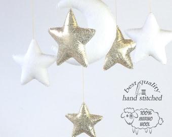 Baby Mobile, White Gold Baby Mobile, Baby Crib Mobile, Stars Baby Mobile,  Nursery Decor, Gift Packaging