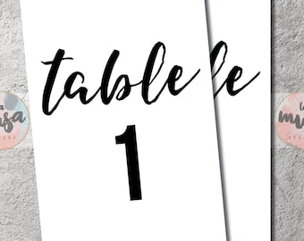 PARTY TABLE NUMBERS 1-50 {Instant Download} {Printable} {Black} {Script} {Multiple Sizes}