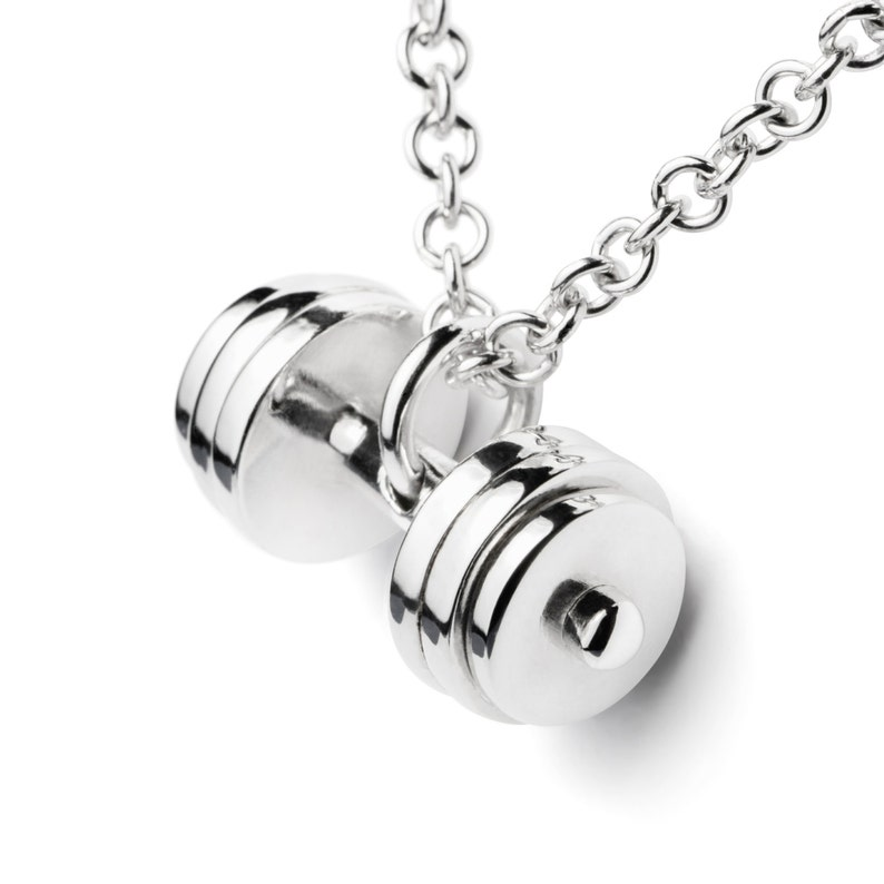 39c27049fdb Fitness jewelry Dumbbell necklace Sterling silver dumbbell