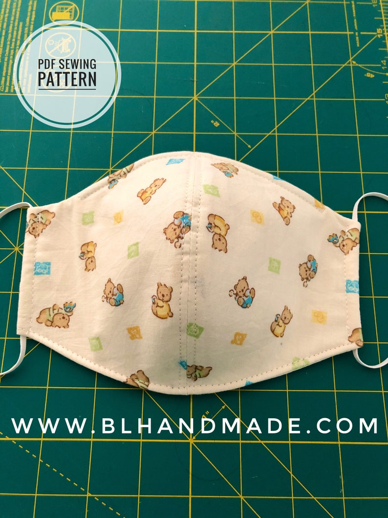 3D Face Mask Sewing Pattern PDF Sewing Pattern Instant PDF image 0
