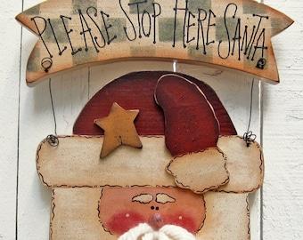 Santa Door Hanger Santa Door Sign Door Decor Santa Decor Christmas Decor Christmas Outdoor Santa Painted Wood Primitive Santa Christmas Sign