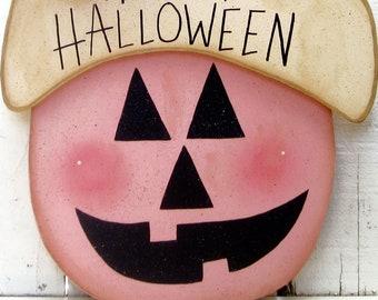 Happy Halloween Pumpkin Pink Fall Outdoor Decor Jack O'Lantern Door Hanger Yard Art Autumn October Holiday Decor Shabby Chic Trick Or Treat