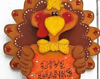 Thanksgiving Turkey Door Hanger Fall Decor Thanksgiving Decor Fall Outdoor Yard Art Yard Sign Fall Wood Thanksgiving Wood Painted Wood Tole