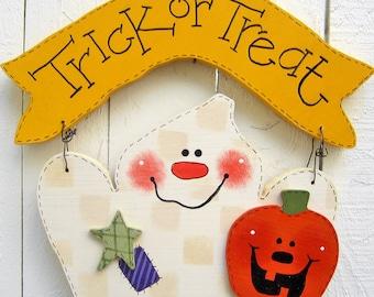Halloween Ghost Hanger Trick Or Treat Halloween Decor Ghost Decor Pumpkin Decor Halloween Wood Ghost Wood Pumpkin Wood Door Hanger Door Sign