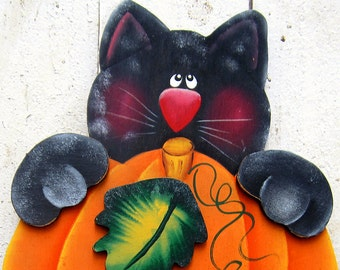 Halloween Yard Art Black Cat Yard Sign Halloween Decor Fall Decor Thanksgiving Decor Autumn Decor Pumpkin Tole Decorative Painting Wood