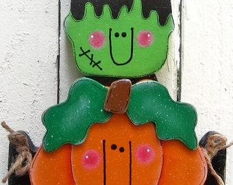 Frankenstein Pumpkin Shelf Sitter Halloween Decor Painted Wood Pumpkin Jack O Lantern Fall Decor Mantel Decor Halloween Wood Small Bright