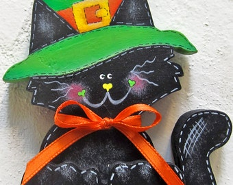 Medium Size Halloween Black Cat Witch Hat Mantle Decor Table Decor Shelf Sitter Kitten Fall Decor Autumn Decor Painted Wood Cat Halloween