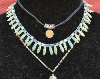 Czech Glass, jasper multilayer necklace.