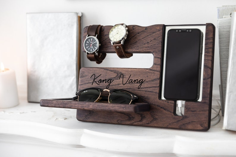 Desktop Organize Custom Coworkers Gift Boss Man Wooden Dock