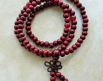 Sandalwood Wrist Mala 108 Beads Elastic Bracelet 20 Inches Red