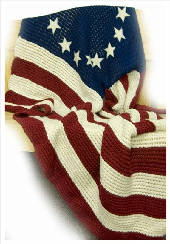 Loom Knitted American Flag Afghanvintage Crochet Pattern Etsy