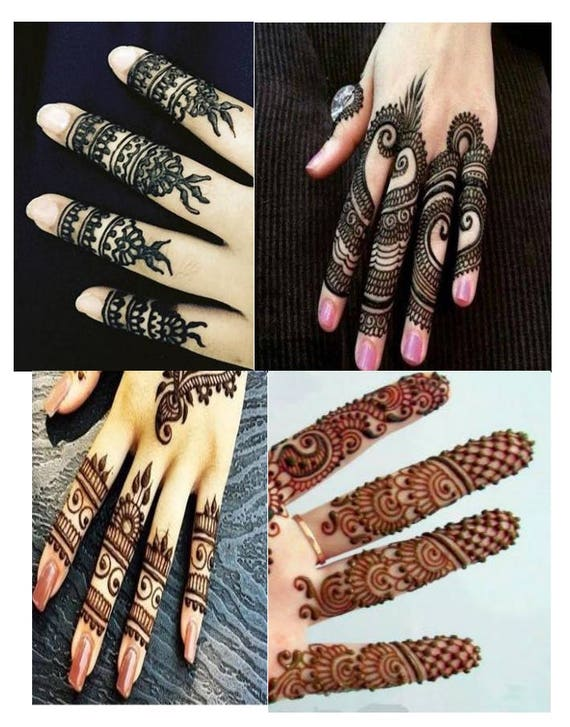 Stylish Henna Designs For Fingers Ebook Mehndi Pattern Etsy