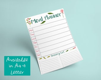 Printable Floral Meal Planner With Grocery List -- Instant Digital Download