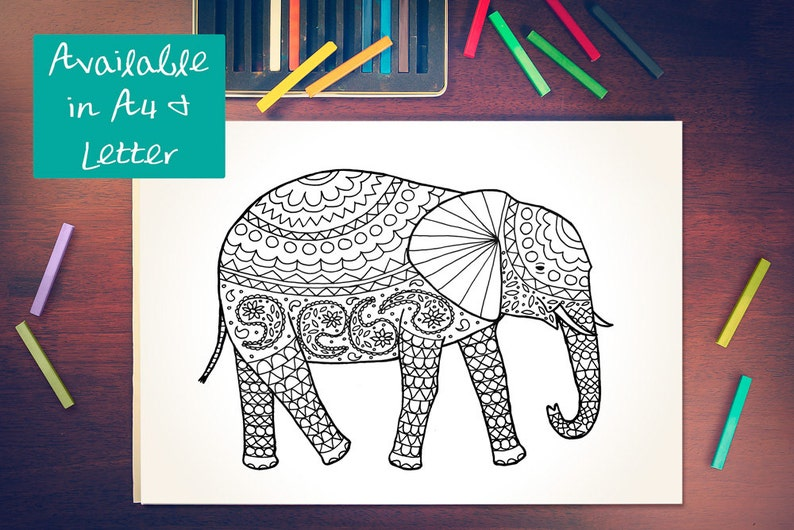 printable colouring page patterned elephant instant