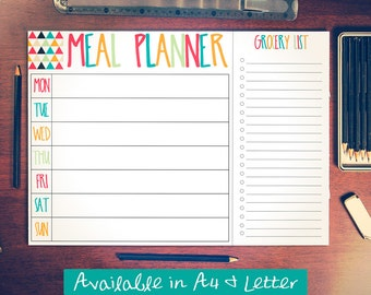 Printable Meal Planner With Grocery List -- Instant Digital Download