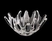 Vintage Fine French Daum Crystal Art Glass Sea Anemone Bowl France Modernist Design