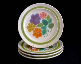 """Vintage Mid Century Modern Set of 4 Floral Franciscan Earthenware Whimsical Floral Dinner Plates 10.5"""" 1960s Classic Dinnerware Pattern"""