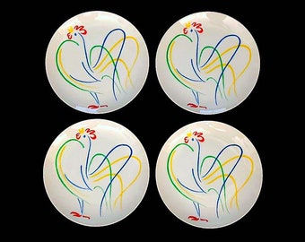 Vintage Mid Century Modern 1970s Whimsical Yellow Flowers Floral Luncheon Plates Set of 4 Fitz and Floyd Japan Japanese