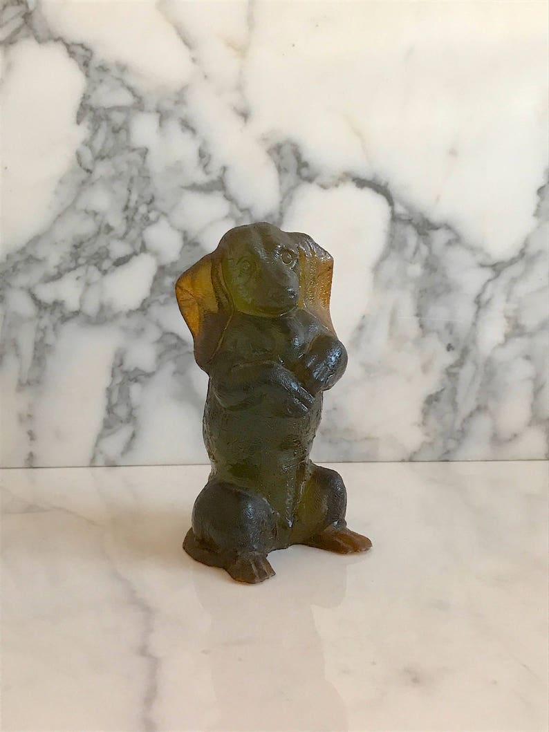 Vintage Modern Upright Dachshund Dog Acrylic Lucite  Sculpture Figurine 6.75 with Translucent Amber /& Green Color Designcraft 1970s