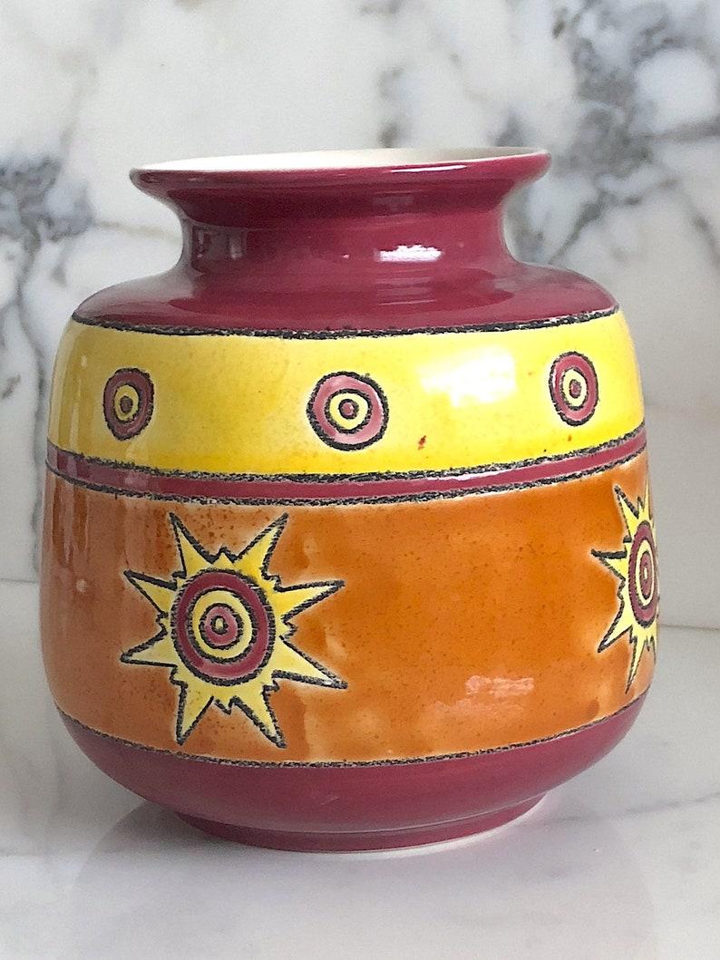 Vintage Modern Artesa Art Studio Pottery Eduardo Vega of Cuenca Ecuador Modernist Vase Ceramica Vega Ceramic Orange Yellow Burgundy Glaze