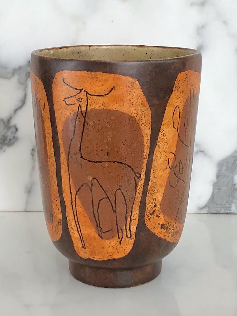 Plants and Animal Drawings Brown /& Orange Glazes 7 20th Century 1970s Vintage Mid Century Modern Art Pottery Ceramic Vase w Stick People