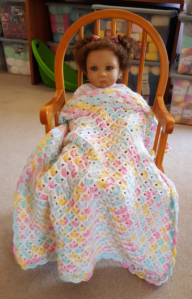 Pink Green Yellow And White Hand Crochet Baby Blankets Swaddle Blankets Receiving Blanket