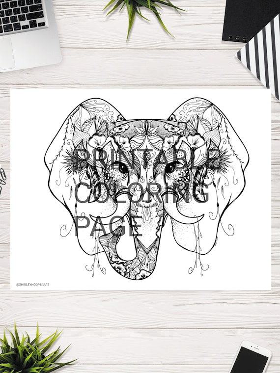 Elephant Coloring Page Adult Coloring Page Animal Coloring Etsy