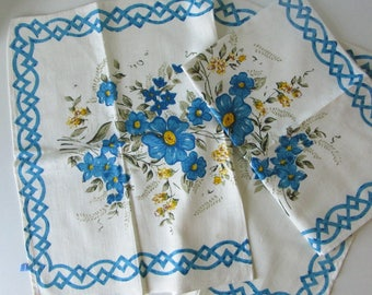 Two Vintage White Tea Towels with Blue, Yellow and Green Floral Design