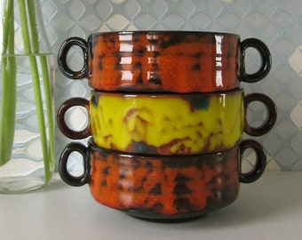 Three Vintage Little Soup Bowls Brown with an Orange, Yellow and Green Glaze, 70s 16286