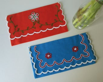 Two Vintage Red and Blue Textile Envelopes or Sachets with Red white and Green Floral Design 18005
