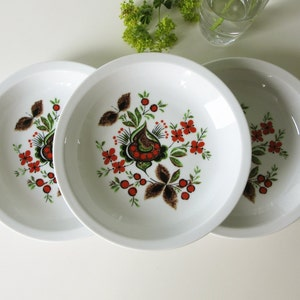 Four Vintage Fondue Plates with a Sweet Floral Design 70s 16261