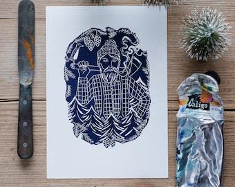 The Woodcutter – linocut print
